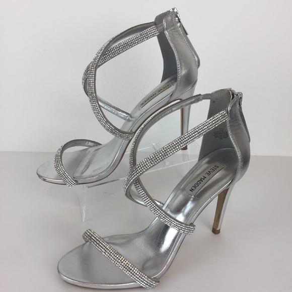 acf18495325 Steve Madden Silver Rhinestone Formal Heels Sz 9.5